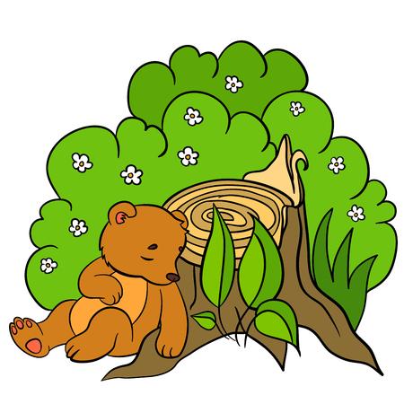 cherish: Cartoon animals for kids. Little cute baby bear sleeps near the stump.