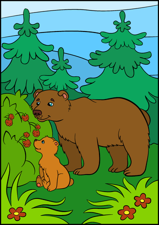 baby bear: Cartoon animals for kids. Daddy bear with his little cute baby bear looks at the raspberry.