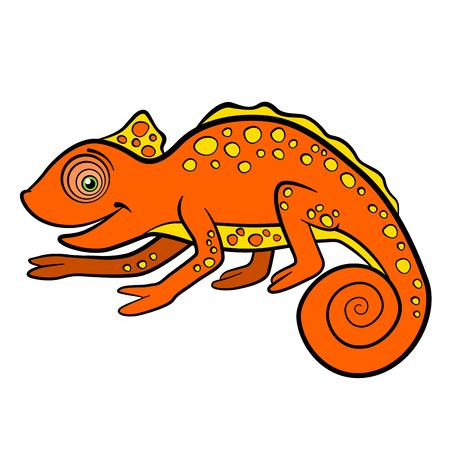 Cartoon animals for kids. Little cute orange chameleon smiles.