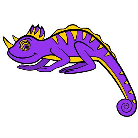 Cartoon animals for kids. Little cute chameleon smiles.