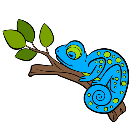 Cartoon animals for kids. Little cute blue chameleon sleeps on the tree branch. Illustration