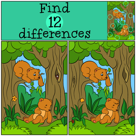spot the difference: Children games: Find differences. Two little cute baby bears in the forest.