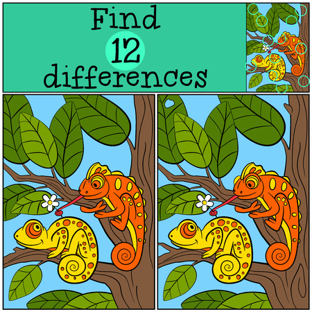 spot the difference: Children games: Find differences. Two little cute chameleons sits on the tree branch and smiles.