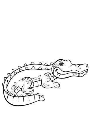 coloration: Coloring pages. Animals. Little cute alligator smiles. Illustration
