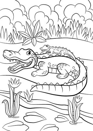 Coloriage. Animaux. Mère alligator avec son mignon petit bébé alligator assis dans son dos.