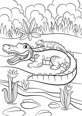 funny baby: Coloring pages. Animals. Mother alligator with her little cute baby alligator sitting in her back. Illustration