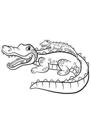 Coloring pages. Animals. Mother alligator with her little cute baby alligator sitting in her back. Illustration