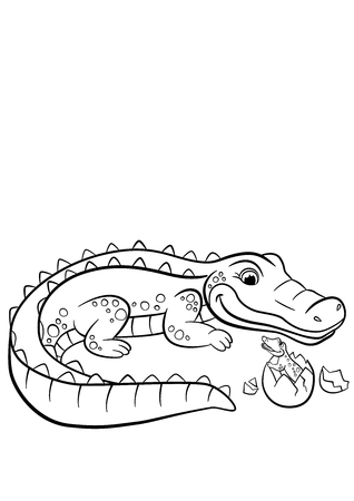 coloration: Coloring pages. Animals. Mother alligator looks at her little cute baby alligator in the egg.