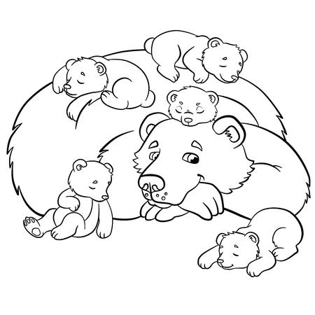 Páginas Para Colorear. Animales Salvajes. Pequeño Oso Lindo Del Bebé ...