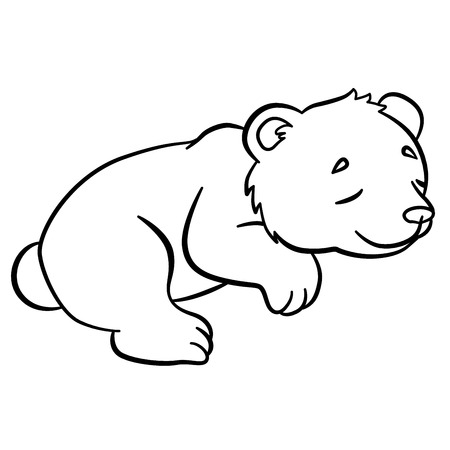 coloration: Coloring pages. Wild animals. Little cute baby bear sleeps. It is so sweet.