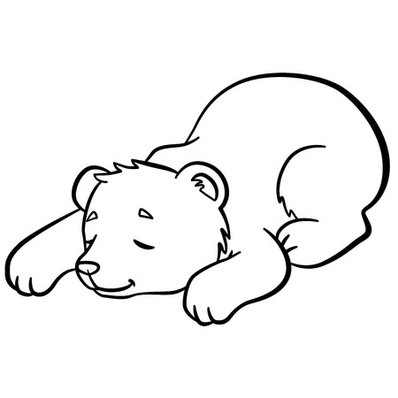 sleeps: Coloring pages. Wild animals. Little cute baby bear sleeps. It is so sweet.