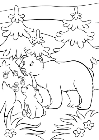 paw paw: Coloring pages. Wild animals. Kind bear and little cute baby bear looks at raspberry. Illustration