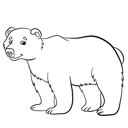 kids fun: Coloring pages. Wild animals. Cute bear stands and smiles.