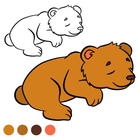 Coloriage. Couleur moi: ours. Petit ours mignon de bébé dort. Banque d'images - 57627578