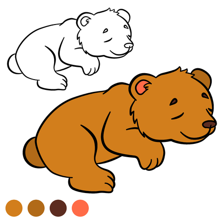 Coloring page. Color me: bear. Little cute baby bear sleeps.