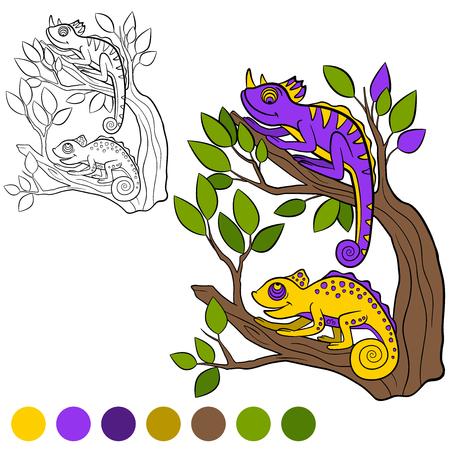 chameleons: Coloring page. Color me: chameleon. Two little cute chameleons smiles. Illustration