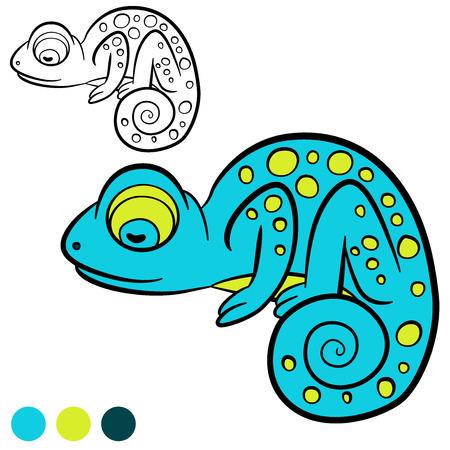 sleeps: Coloring page. Color me: chameleon. Little cute blue chameleon sleeps.