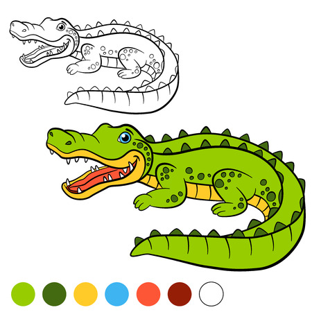 small children: Coloring page. Color me: alligator. Little cute spotted alligator smiles. Illustration