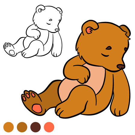 baby bear: Coloring page. Color me: bear. Little cute baby bear sleeps.