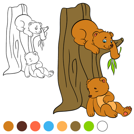 baby bear: Coloring page. Color me: bear. Two little cute baby bears.