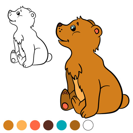 baby bear: Coloring page. Color me: bear. Little cute baby bear smiles. Illustration