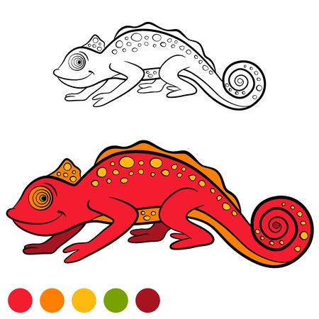 coloration: Coloring page. Color me: chameleon. Little cute red chameleon smiles. Illustration
