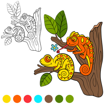 coloration: Coloring page. Color me: chameleon. two little cute chameleon sits on the tree branch.