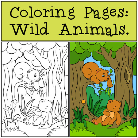 coloration: Coloring Pages: Wild Animals. Two little cute baby bears in the forest.
