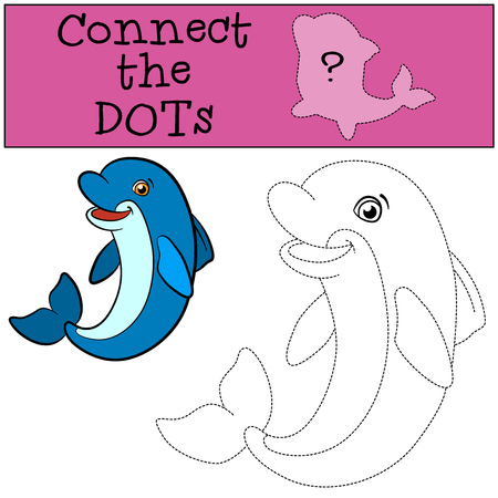 Educational games for kids: Connect the dots. Little cute dolphin swims and smiles. Illustration