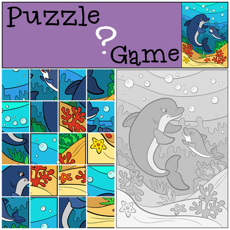 preliminary: Education games for kids. Puzzle. Mother dolphin swims underwater with her little cute baby dolphin and smiles.