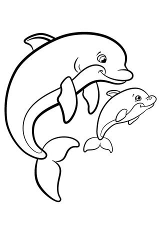 Kleurplaten Marine Wilde Dieren Moeder Dolfijn Zwemt Met