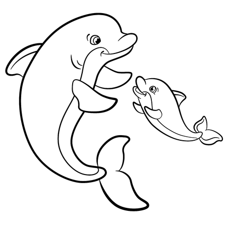Coloring pages. Marine wild animals. Mother dolphin swims with her little cute baby dolphin.