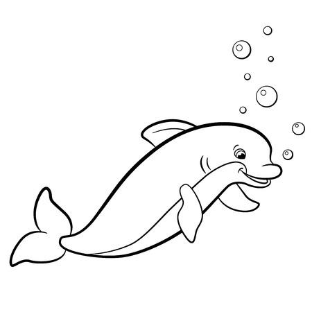 Coloriage. animaux sauvages marins. sourires des dauphins mignons.
