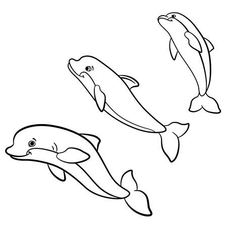 Malvorlagen. Marine-wilde Tiere. Kleine Süße Delphin Springt Und ...