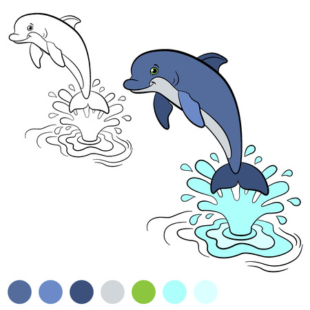 splash page: Coloring page. Color me: dolphin. Little cute dolphin jumps out of the water with splash. He is happy.