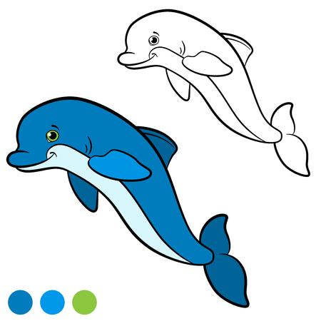 Dibujo Para Colorear. Color Me Delfín. Pequeños Lindo Bebé Delfín ...