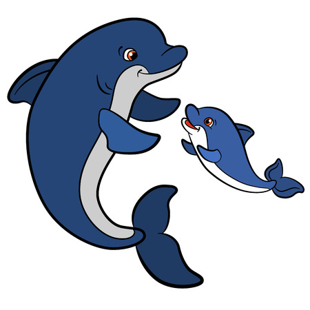 Cartoon animals for kids. Mother dolphin swims with her little cute baby dolphin and smiles.
