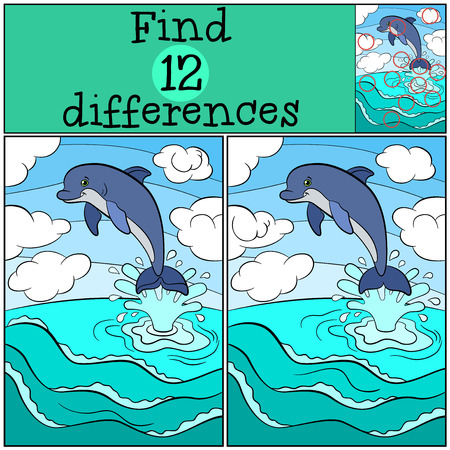 seeking solution: Children games: Find differences. Little cute dolphin jumps out of the water and smiles.