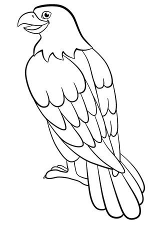 Malvorlagen. Wilde Vögel. Netter Adler sitzt und lächelt. Standard-Bild - 58544279