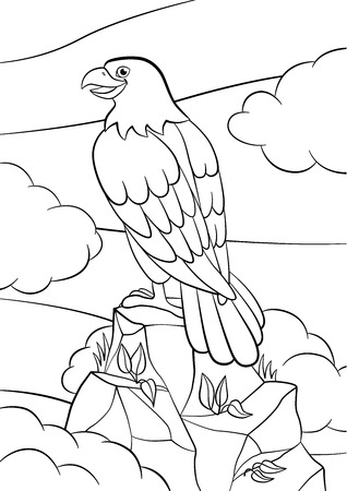 Coloring pages. Wild birds. Cute eagle sits on the rock and smiles.