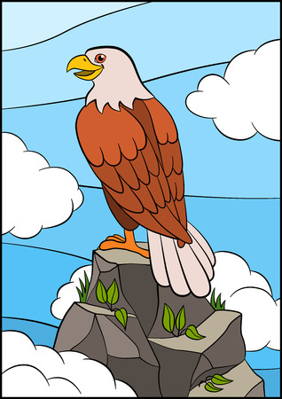 Cartoon wild birds for kids: Eagle. Cute eagle sits on the top of the rock and smiles.