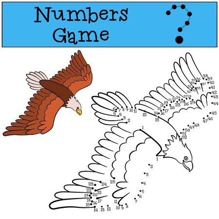 Educational games for kids: Numbers game. Cute bald eagle flies and smiles. Illustration