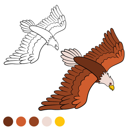 cartoon eagle: Coloring page. Color me: eagle. Cute bald eagle flying and smiling.