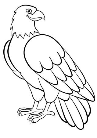 Coloriage. Oiseaux sauvages. Mignon aigle assis et sourit.
