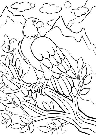 Coloring pages. Wild birds. Cute eagle sits on the tree branch among mountains and smiles.