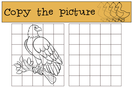 cartoon eagle: Children games: Copy the picture. Cute bald eagle sits on the tree branch and smiles.