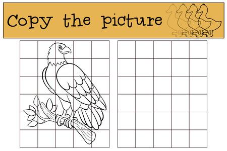 Giochi per bambini: Copia l'immagine. Cute aquila calva si siede sul ramo di albero e sorride. Vettoriali