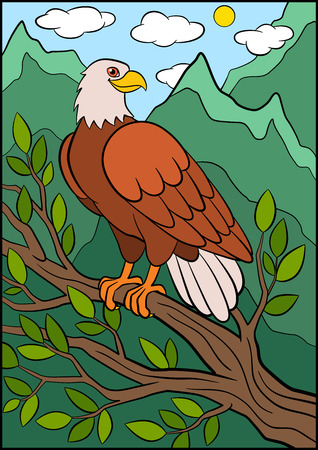 Cartoon wild birds for kids: Eagle. Cute eagle sits on the tree branch and smiles.