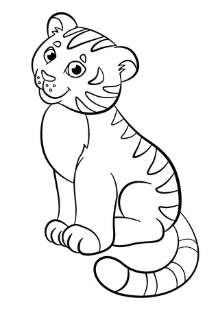 tigre bebe: P�ginas para colorear. Animales salvajes. Peque�o tigre lindo beb� se sienta y sonr�e.