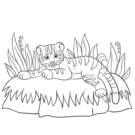 tiger page: Coloring pages. Wild animals. Little cute baby tiger lays and smiles.